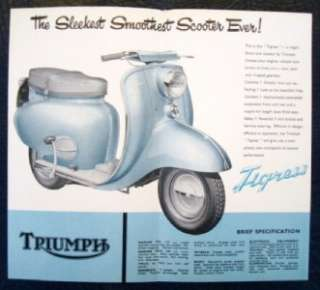 TRIUMPH TIGRESS SCOOTER SALES BROCHURE 1958.