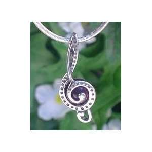 Treble Clef Soprano Music Sterling Silver on Amethyst Band Pendant