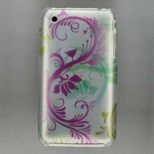 Apple iPhone 3G, 3GS 3G S   Cool Silver Hot Pink Flower Floral Print