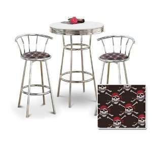 Table & 2 Chrome 29 Pirate Skull and Crossbones Fabric Seat Barstools