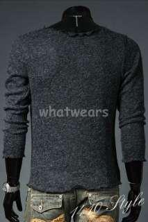 Mens Slim Fit High Quality T shirt Sweater L Grey Z86