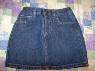 TKS DENIM JEANS SKIRT DIAMONDS AT POCKETS SZ 5 LITTLE GIRL BLUE GEMS