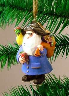 Jolly Roger Pirate Santa Parrot Christmas Ornament