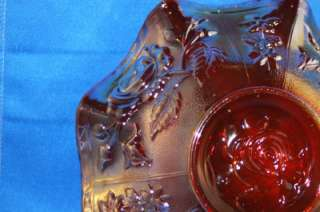 IMPERIAL CARNIVAL GLASS RED AMAZING COLORS GLASS ROSE BOWL