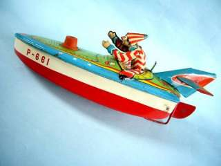 CLOWN on Japanese Speed Racer Motor Boat Ship Tin Toy