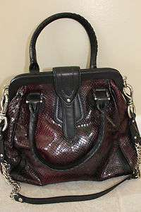COLE HAAN Brown Black Snake Print Patent Leather Handbag Shoulder Bag