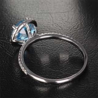 Natural 6.5mm BLUE TOPAZ 14K GOLD Pave DIAMOND ENGAGEMENT Wedding Halo