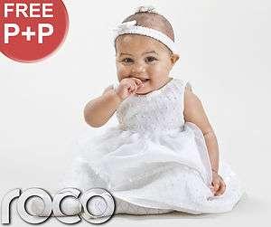 Baby Girls Ivory Christening Dresses Embroidered Diamond Pattern