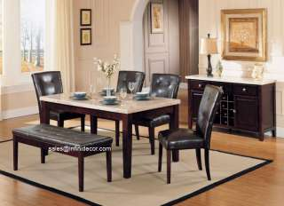 White / Espresso Marble Top Dining Room Table and Chair Set Bench