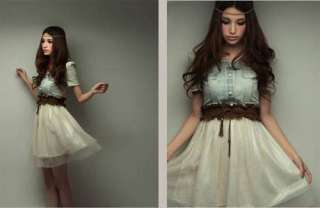Denim Party Dress Retro Girl Blue Top White Skirt With Belt Z