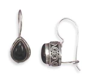 925 Sterling Silver Pear Shape Black Onyx Bali Earrings