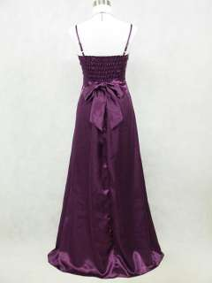 Cherlone Satin Dark Purple Long Prom Ball Gown Wedding/Evening Dress