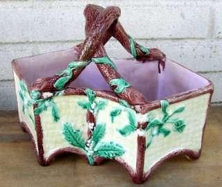 Antique Majolica Holly Berry Christmas Basket