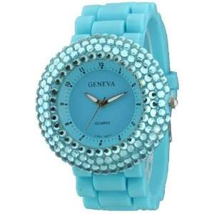 Light Blue Big Round Face Solid Color Silicone Watch with Four Rounds