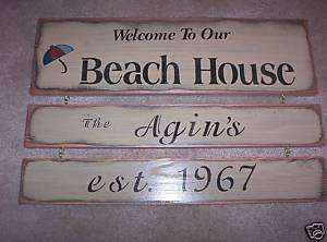 Personalized WELCOME TO OUR BEACH HOUSE wood sign prim