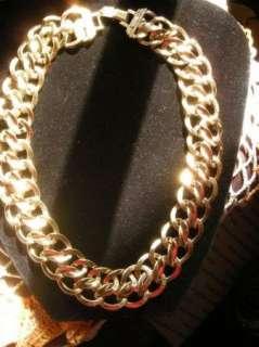 RUNWAY HUGE MONET 19 lg Link Gold tone Necklace 1