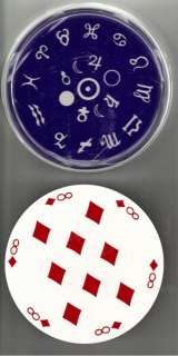 Vintage Blue Zodiac Round Playing Cards in Clear Plastic Case with Lid