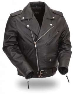 Leather Traditional Classic Belted Motorcycle Biker Jacket