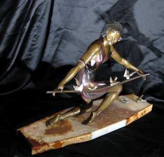 French Art Deco Bronze Figurine Swallow Statue
