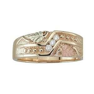 Black Hills Gold Three Stone Mens Diamond Wedding Ring from Coleman