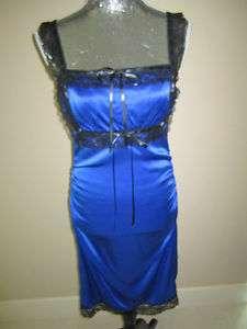 Betsey Johnson Royal Blue Silk Dress With Lace Trim Size 6