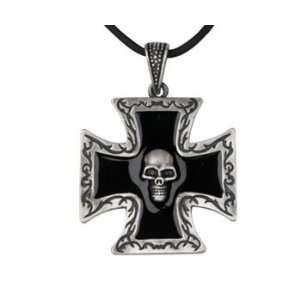 Black Cross with Skull Pendant   Pewter   1.5 Height