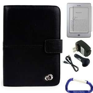 Gizmo Dorks Faux Leather Folio Case (Black), Screen Protector, and