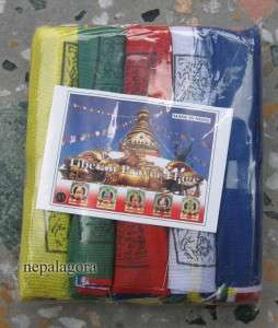 PF56 Lot of 5 Tibetan Buddhist windhorse cotton prayer flags Nepal