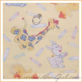 BOOAK Fabric Flannel Cotton Quilt Baby VTG Suzy Zoo Duck Elephant