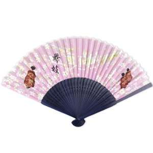 Painted Fabric   Perforated Blue Tint Wood Hand Held Folding Fan