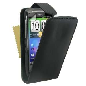 Black Leather Flip Case Cover For The HTC Desire S With