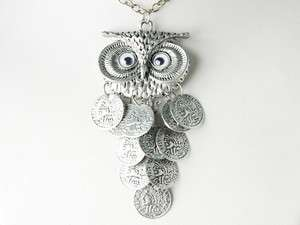 Dangle Coin Body Big Eyed Owl Bird Metallic Alloy Tone Costume Pendant