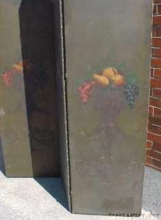 Victorian Still Life Oil Canvas Painted Folding Screen