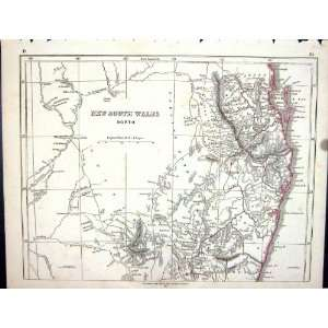 Lowry Antique Map 1853 New South Wales Australia Moreton