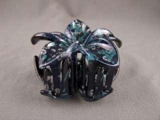 Teal White Black Blue plumeria hawaiian flower barrette hair clip claw