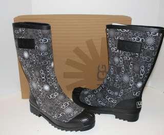 Ugg Multi Logo short rain womens boots black New in Box