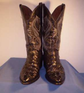 EL GENERAL EXOTIC BLACK CAIMAN ALLIGATOR LEATHER WESTERN COWBOY BOOTS