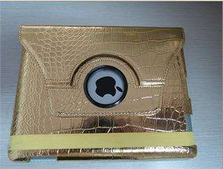 Crocodile Leather Cover Case with Stand for iPad 3rd Blink Gold
