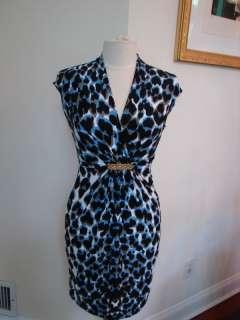 NWOT Roberto Cavalli Blue Leopard Print Dress Sz 40