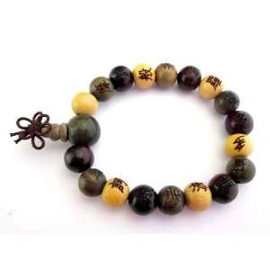 Buddhist 12mm Wood Beads Japa Mala Meditation Wrist Bracelet: Jewelry