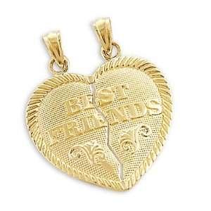 14k Yellow Gold Best Friends Breakable Charm Pendant Jewelry