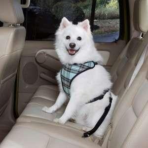 Classic Plaid Car Vest Harness Dog Seat Belt LG Blue