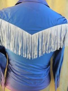 Vintage H Bar C Western Cowboy Style shirt Fringe & lace up satin look