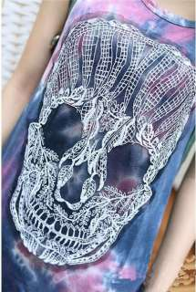 New T Shirts Tank Top Cool Punk Lace Skull