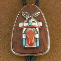 Vintage Old Pawn Sterling Turquoise Coral Kachina Bolo