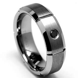 7MM BLACK DIAMOND Grooved Tungsten Carbide Ring Wedding Band
