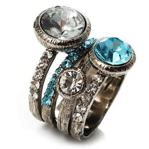 Wide Band Crystal Cocktail Ring (Clear&Sky Blue)   size 7 Jewelry