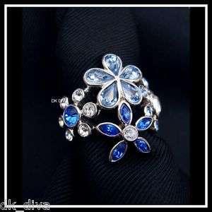 Dyrberg/Kern BOTANIC S/BLUE II Flower ring Swarovski
