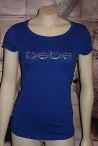 XS*S*M*L*XL BEBE triple stud LOGO tee shirt top ROYAL BLUE