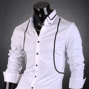 SWM Mens Designer Dress Slim Fit Shirt Tops Line Trend